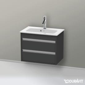 Duravit Ketho Waschtischunterschrank Compact mit 2 Auszügen Front graphit matt / Korpus graphit matt