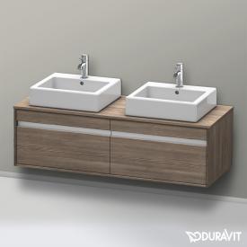 Duravit Ketho Waschtischunterschrank mit 2 Auszügen für 2 Aufsatzwaschtische Front pine terra / Korpus pine terra