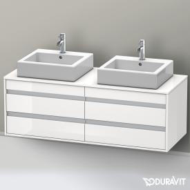 Duravit Ketho Waschtischunterschrank mit 4 Auszügen für 2 Aufsatzwaschtische Front weiß hochglanz / Korpus weiß hochglanz