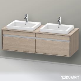 Duravit Ketho Waschtischunterschrank mit 2 Auszügen für 2 Einbauwaschtische Front pine silver / Korpus pine silver
