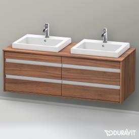 Duravit Ketho Waschtischunterschrank mit 4 Auszügen für 2 Einbauwaschtische Front nussbaum natur / Korpus nussbaum natur