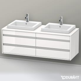 Duravit Ketho Waschtischunterschrank mit 4 Auszügen für 2 Einbauwaschtische Front weiß hochglanz / Korpus weiß hochglanz
