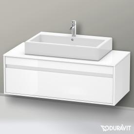 Duravit Ketho Waschtischunterschrank für Aufsatzwaschtisch mit 1 Auszug ohne Ausschnitt Front weiß hochglanz / Korpus weiß hochglanz