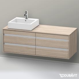 Duravit Ketho Waschtischunterschrank für Aufsatzwaschtisch mit 4 Auszügen Front pine silver / Korpus pine silver