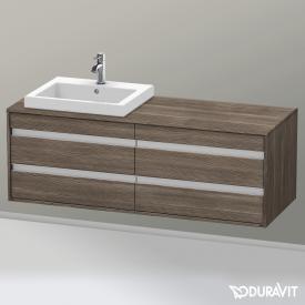 Duravit Ketho Waschtischunterschrank für Einbauwaschtisch mit 4 Auszügen Front pine terra / Korpus pine terra