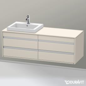 Duravit Ketho Waschtischunterschrank für Einbauwaschtisch mit 4 Auszügen Front taupe matt / Korpus taupe matt
