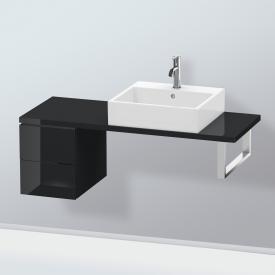 Duravit L-Cube Unterschrank für Konsole mit 2 Auszügen Front schwarz hochglanz / Korpus schwarz hochglanz, ohne Einrichtungssystem