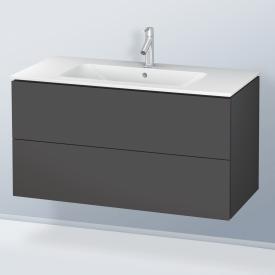 Duravit L-Cube Waschtischunterschrank mit 2 Auszügen Front graphit matt / Korpus graphit matt, ohne Einrichtungssystem