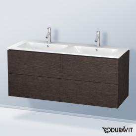 Duravit L-Cube Waschtischunterschrank mit 4 Auszügen für Doppelwaschtisch Front eiche dunkel gebürstet / Korpus eiche dunkel gebürstet, ohne Einrichtungssystem