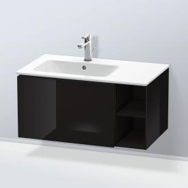 Duravit L-Cube Waschtischunterschrank mit 1 Auszug und 1 Regalelement Front schwarz hochglanz / Korpus schwarz hochglanz, ohne Einrichtungssystem
