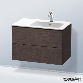 Duravit L-Cube Waschtischunterschrank mit 2 Auszügen Front eiche dunkel gebürstet / Korpus eiche dunkel gebürstet, mit Einrichtungssystem nussbaum