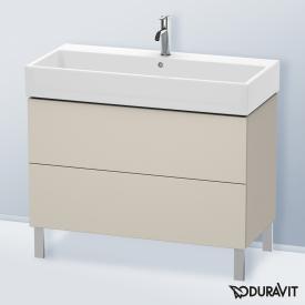 Duravit L-Cube Waschtischunterschrank mit 2 Auszügen Front taupe matt / Korpus taupe matt, mit Einrichtungssystem Ahorn