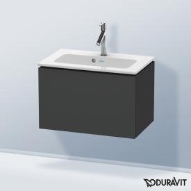 Duravit L-Cube Waschtischunterschrank Compact mit 1 Auszug Front graphit matt / Korpus graphit matt, mit Einrichtungssystem Nussbaum