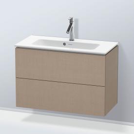 Duravit L-Cube Waschtischunterschrank Compact mit 2 Auszügen Front leinen / Korpus leinen, mit Einrichtungssystem Nussbaum