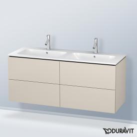Duravit L-Cube Waschtischunterschrank für Doppelwaschtisch mit 4 Auszügen Front taupe matt / Korpus taupe matt, mit Einrichtungssystem Ahorn, beidseitig