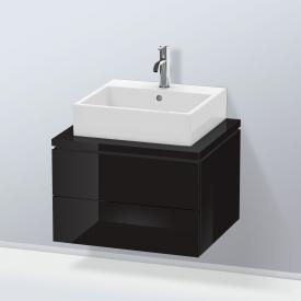 Duravit L-Cube Waschtischunterschrank für Konsole mit 2 Auszügen Front schwarz hochglanz / Korpus schwarz hochglanz, ohne Einrichtungssystem