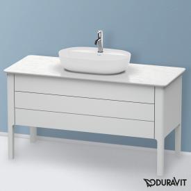 Duravit Luv Waschtischunterschrank für Konsole mit 2 Auszügen Front weiß seidenmatt / Korpus weiß seidenmatt, mit Einrichtungssystem in Nussbaum