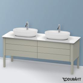 Duravit Luv Waschtischunterschrank für Konsole mit 4 Auszügen Front taupe seidenmatt / Korpus taupe seidenmatt, mit Einrichtungssystem in Nussbaum