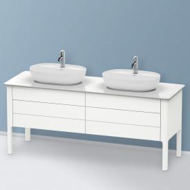 Duravit Luv Waschtischunterschrank für Konsole mit 4 Auszügen Front weiß seidenmatt / Korpus weiß seidenmatt, mit Einrichtungssystem in Nussbaum