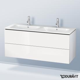 Duravit ME by Starck Doppelwaschtisch mit L-Cube Waschtischunterschrank mit 2 Auszügen Front weiß hochglanz / Korpus weiß hochglanz, ohne Einrichtungssystem, WT weiß, mit WonderGliss, mit 2 Hahnlöchern