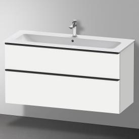 Duravit Me by Starck Waschtisch mit D-Neo Waschtischunterschrank mit 2 Auszügen Front weiß matt / Korpus weiß matt, WT weiß, mit WonderGliss, mit 1 Hahnloch