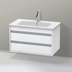 Duravit ME by Starck Waschtisch mit Ketho Waschtischunterschrank mit 2 Auszügen weiß matt, mit 1 Hahnloch