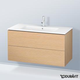 Duravit ME by Starck Waschtisch mit L-Cube Waschtischunterschrank eiche gebürstet, mit WonderGliss, mit 1 Hahnloch