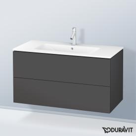 Duravit ME by Starck Waschtisch mit L-Cube Waschtischunterschrank mit 2 Auszügen Front graphit matt / Korpus graphit matt, weiß, mit WonderGliss, mit 1 Hahnloch