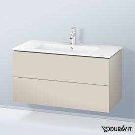 Duravit ME by Starck Waschtisch mit L-Cube Waschtischunterschrank mit 2 Auszügen Front taupe matt / Korpus taupe matt, weiß, mit WonderGliss, mit 1 Hahnloch