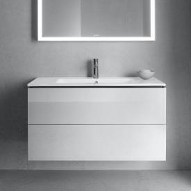 Duravit ME by Starck Waschtisch mit L-Cube Waschtischunterschrank mit 2 Auszügen Front weiß hochglanz / Korpus weiß hochglanz, ohne Einrichtungssystem, WT weiß, mit WonderGliss, mit 1 Hahnloch