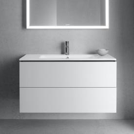 Duravit ME by Starck Waschtisch mit L-Cube Waschtischunterschrank mit 2 Auszügen Front weiß matt / Korpus weiß matt, weiß, mit WonderGliss, mit 1 Hahnloch