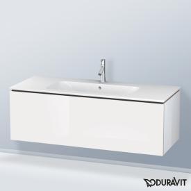 Duravit ME by Starck Waschtisch mit L-Cube Waschtischunterschrank mit 1 Auszug weiß, mit WonderGliss, mit 1 Hahnloch