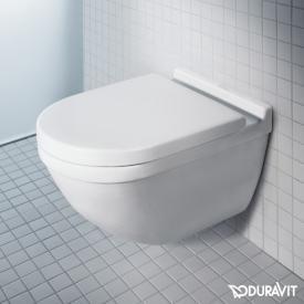 Duravit Starck 3 Wand-Tiefspül-WC Set, mit WC-Sitz ohne Spülrand, weiß