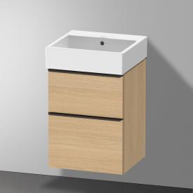 Duravit Vero Air Waschtisch mit D-Neo Waschtischunterschrank mit 2 Auszügen Front eiche natur / Korpus eiche natur, WT weiß, ohne Hahnloch, mit Überlauf