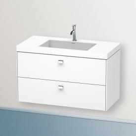 Duravit Vero Air Waschtisch mit Brioso Waschtischunterschrank mit 2 Auszügen Front weiß matt/Korpus weiß matt, Griff chrom