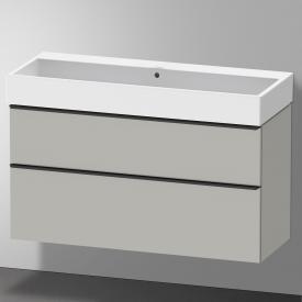 Duravit Vero Air Waschtisch mit D-Neo Waschtischunterschrank mit 2 Auszügen Front betongrau matt / Korpus betongrau matt, WT weiß, ohne Hahnloch, mit Überlauf