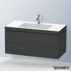 Duravit Vero Air Waschtisch mit L-Cube Waschtischunterschrank mit 2 Auszügen Front graphit matt / Korpus graphit matt, ohne Einrichtungssystem, mit 1 Hahnloch