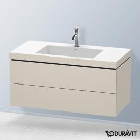 Duravit Vero Air Waschtisch mit L-Cube Waschtischunterschrank mit 2 Auszügen Front taupe matt / Korpus taupe matt, ohne Einrichtungssystem, mit 1 Hahnloch