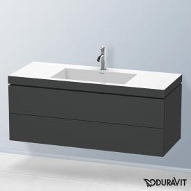 Duravit Vero Air Waschtisch mit L-Cube Waschtischunterschrank mit 2 Auszügen graphit matt, ohne Einrichtungssystem, mit 1 Hahnloch