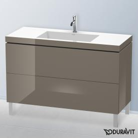 Duravit Vero Air Waschtisch mit L-Cube Waschtischunterschrank mit 2 Auszügen flannel grey hochglanz, mit Einrichtungssystem Ahorn, mit 1 Hahnloch