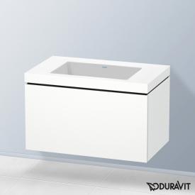 Duravit Vero Air Waschtisch mit L-Cube Waschtischunterschrank mit 1 Auszug weiß matt, mit Einrichtungssystem Nussbaum, ohne Hahnloch