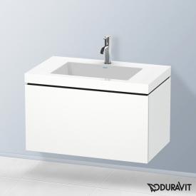 Duravit Vero Air Waschtisch mit L-Cube Waschtischunterschrank mit 1 Auszug weiß matt, ohne Einrichtungssystem, mit 1 Hahnloch