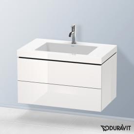 Duravit Vero Air Waschtisch mit L-Cube Waschtischunterschrank mit 2 Auszügen weiß hochglanz, mit Einrichtungssystem Ahorn, mit 1 Hahnloch