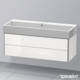 Duravit Vero Air Waschtisch mit XSquare Waschtischunterschrank mit 2 Auszügen weiß, mit WonderGliss, ohne Hahnloch, mit Überlauf