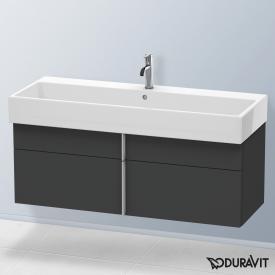 Duravit Vero Air Waschtischunterschrank hoch mit 2 Auszügen Front graphit matt / Korpus graphit matt, mit Einrichtungssystem in Ahorn