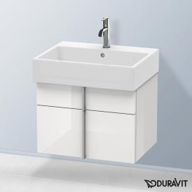 Duravit Vero Air Waschtischunterschrank hoch mit 2 Auszügen Front weiß hochglanz / Korpus weiß hochglanz, mit Einrichtungssystem in Nussbaum