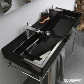 Duravit Vero Doppelwaschtisch schwarz, mit 2 Hahnlöchern, ungeschliffen, mit Überlauf