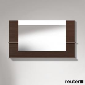 Duravit Vero Spiegel mit LED-Beleuchtung, Ablageflächen unten/seitlich nussbaum gebürstet, dimmbar