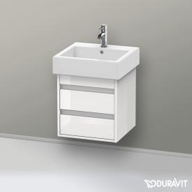 Duravit Vero Waschtisch mit Ketho Waschtischunterschrank mit 2 Auszügen weiß, mit WonderGliss, mit 1 Hahnloch, mit Überlauf