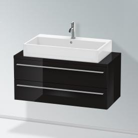 Duravit X-Large Waschtischunterschrank für Konsole Compact mit 2 Auszügen Front schwarz hochglanz / Korpus schwarz hochglanz